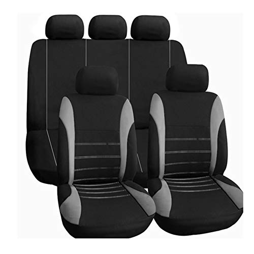 CARWORD Car Seat Covers Full Set in Grey and Black Auto Interior Accessories Air Bag Compatible of Vehicles Cars Trucks & SUVs