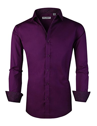 Joey CV Mens Casual Button Down Shirts Long Sleeve Regular Fit(Purple,Large) by Joey CV