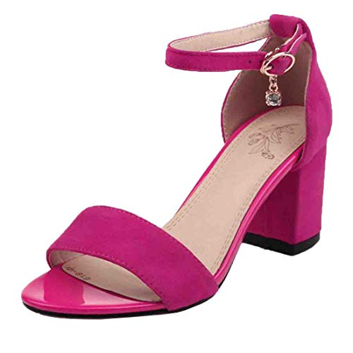 Vitalo Womens Ankle Strap Block Heel Open Toe Sandals One Band Dress Shoes Size 7 B(M) US,Hot Pink