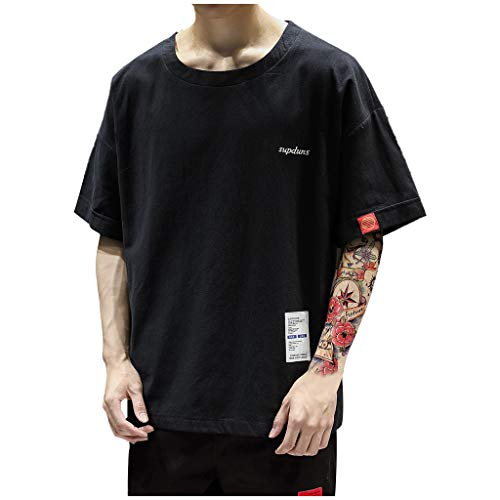Willow S Men's Summer Cooling Patchwork Premium Casual Inner Contrast T-Shirt Tops Blouse Black