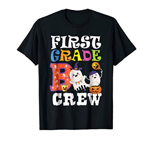 Halloween First 1st Grade Boo Crew Shirt Teacher Kid -