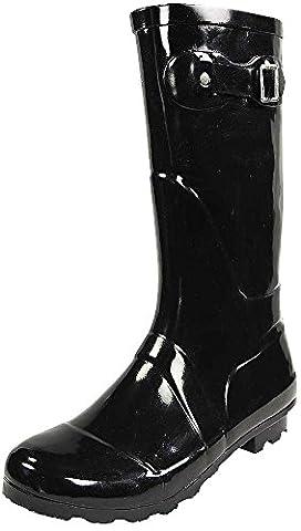NORTY - Womens Hurricane Wellie Solid Gloss Mid-Calf Rain Boot, Black 38734-7B(M)US - Wellies