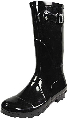 - NORTY - Womens Hurricane Wellie Solid Gloss Mid-Calf Rain Boot, Black 38734-9B(M) US