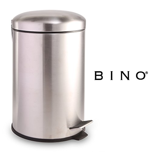 BINO Stainless Steel 3 Gallon/12 Liter Round Step Trash Can, Brushed (12l Pedal Bin)