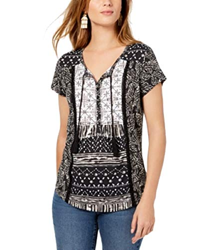 (Style & Co. Petite Mixed-Print Peasant Top (Black Batik, PS))