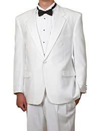 New Mens Classic Formal 1 Button White Tuxedo Suit