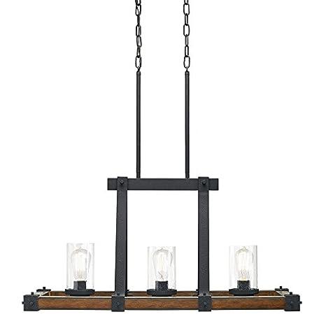 Kichler Lighting Barrington 3 Light Distressed Black and Wood ...