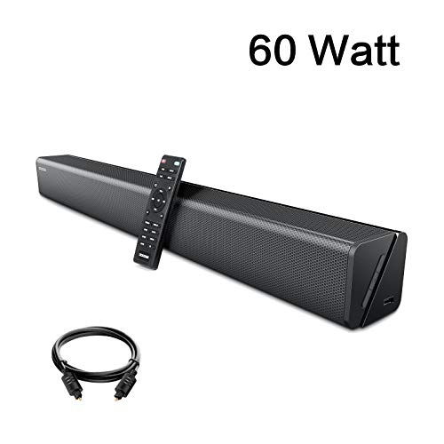 Soundbar, GooDee 30-Inch Home Theater 60 Watt Sound bar for TV, 2.0 Channel Bluetooth 5.2 Wireless Audio Speaker, Support Optical/RCA/AUX, Wall Mountable