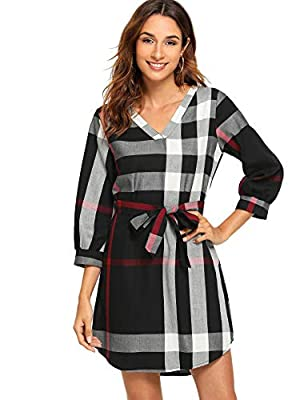 Floerns Women's Plaid Print V Neck 3/4 Sleeve Self Tie A Line Tunic Dress