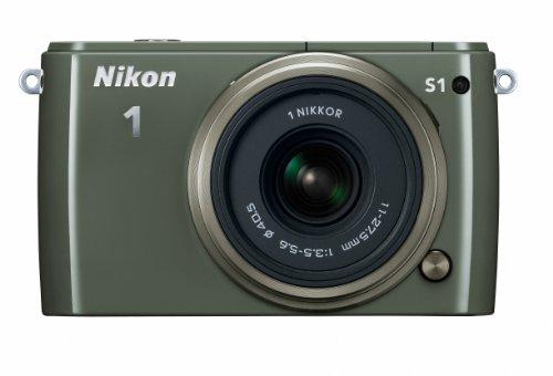 Nikon 1 S1 10.1 MP HD Digital Camera with 11-27.5mm VR 1 NIKKOR Lens (Khaki) For Sale