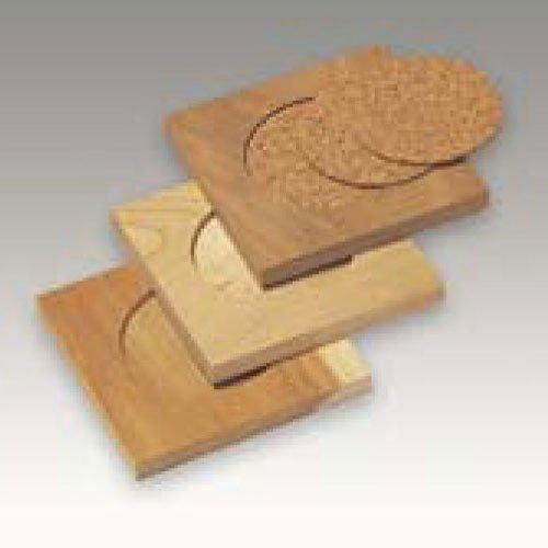 木彫コースター(3枚組)【木彫・木工芸 コルク工芸】BB43310