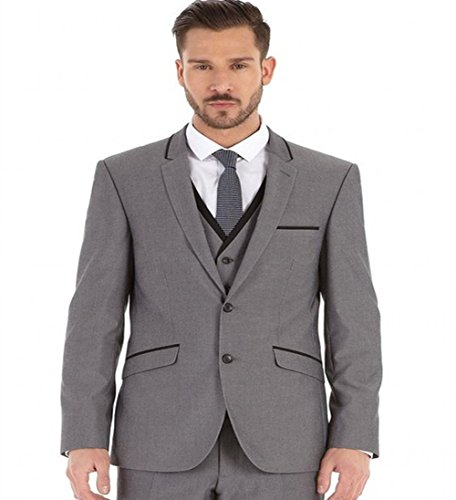 - 3 Piece Gray Men Suits Groom Tuxedos Prom Coat Blazer Party Business Suits