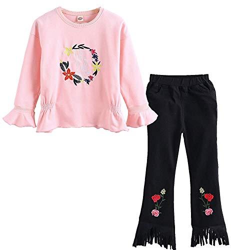 Baby Girls Toddler Kids Rose Sweatshirt Leggings Pants 2PCS Outfits Set(Rose White,100) , Rose White , #100(3-4Years) -