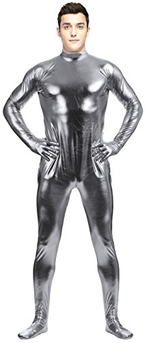 [VSVO Adult Gray Shiny Metallic with Gloves and Socks Unitard Bodysuit (XX-Large, Gray)] (Latex Wolf Suit)
