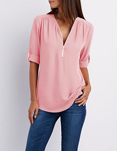 YOSICIL Hauts Chiffon Shirt Rose Top Tunique Chemise Top Bureau Blouse Mode OL Longues Zipp Chemisier V Manches Chic Mousseline Classique Col Tee Femme HZBrFH