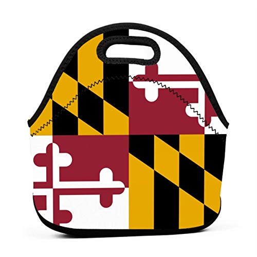 Lunch Bag Cool Maryland Flag Insulated LunchBox Lunch Tote Bag Durable for Women Men Kids school Work Picnic Hiking Beach Fishing (Best Places To Go Fishing In Maryland)