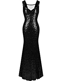 Angel-fashions Women's Queen Anne Neckline Sequins Mermaid Long Party Dress