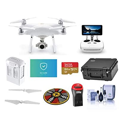 DJI Phantom 4 Pro+ V2.0 Quadcopter Drone 5.5in FHD Screen Remote Controller - Bundle 64GB MicroSDHC Card, Care Refresh Warranty, Go Professional Case, Intelligent Battery More