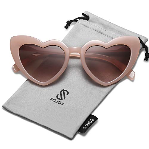 SOJOS Heart Shaped Sunglasses Clout Goggle Vintage Cat Eye Mod Style Retro Glasses Kurt Cobain SJ2062 with Pink Frame/Gradient Brown ()