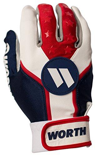 Worth Sports WBATGL-RWB-03 Batting Gloves, Red/White/Blue, Large -