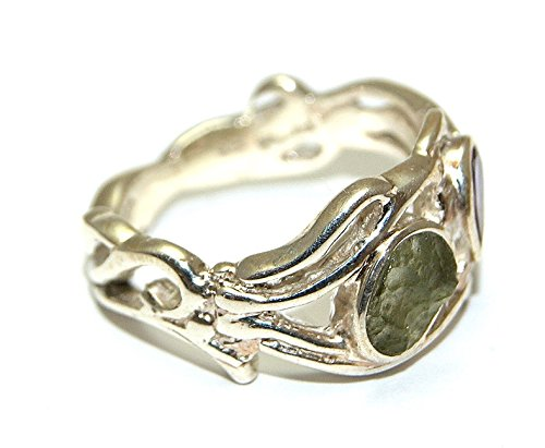 Moldavite and Amethyst Ring - Sterling Silver - MOLDR16A16