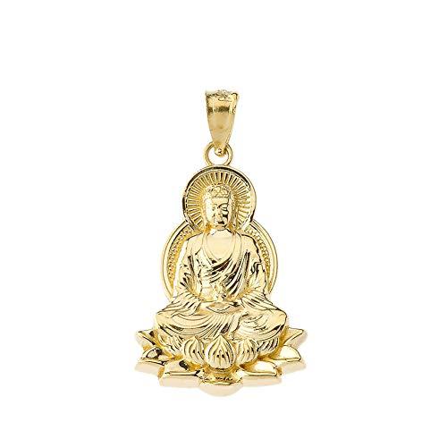 Fine 10k Yellow Gold Buddha on a Lotus Flower Pendant