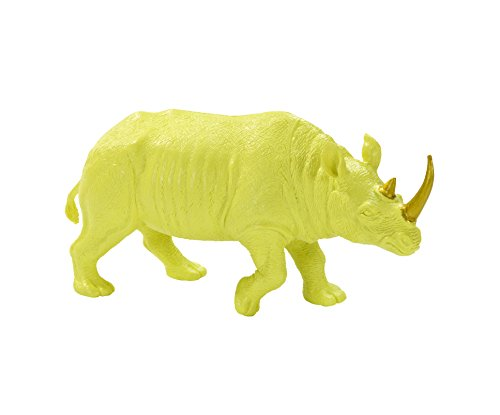 Talking Tables Fluorescent Floral Resin Rhino in Neon Lime Party Decoration, (Neon Party Ideas)