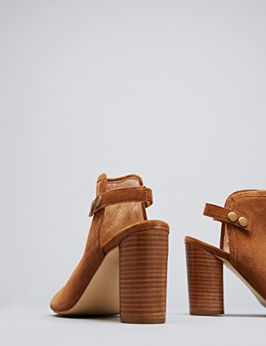 FIND Women's Open Toe Sandals in Suede Slingback with Buckle Brown (Tan) 2JugJmTI7c
