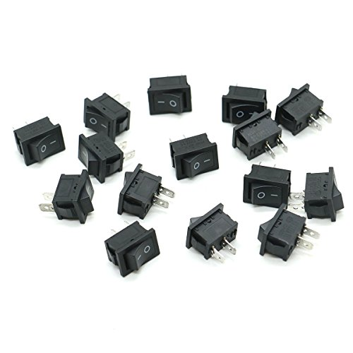 HUELE 15 Pcs AC 6A/250V 10A/125V 2 Solder Lug SPST On/Off Mini Boat Rocker Switch Car Auto Boat Round Rocker 2Pin Toggle SPST Switch Snap