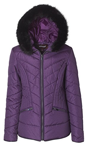 - Sportoli Junior Women's Down Alternative Promo Puffer Jacket with Fur Trimmed Hood - Bramble Wine (Medium)