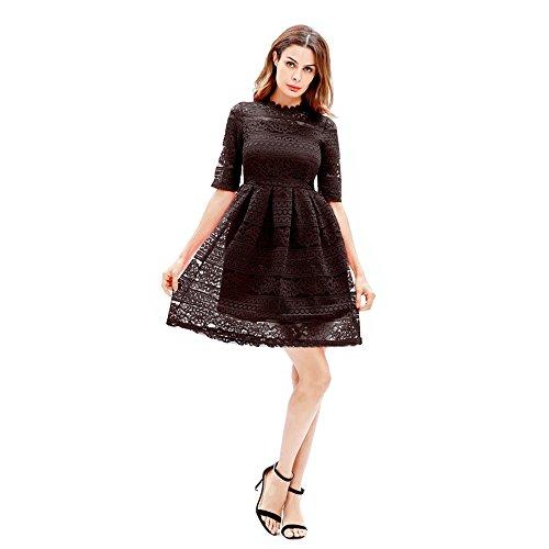 temperamento maniche in a Go Shopping femminile pizzo Black corte per Easy Abito ricamo slim Hwpn14xqU