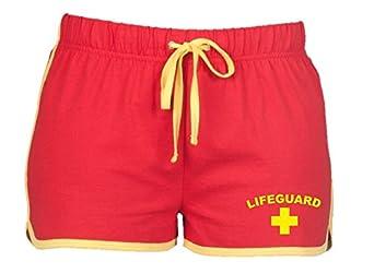LIFEGUARD Ladies Shorts (Red/Yellow): Amazon.co.uk: Clothing