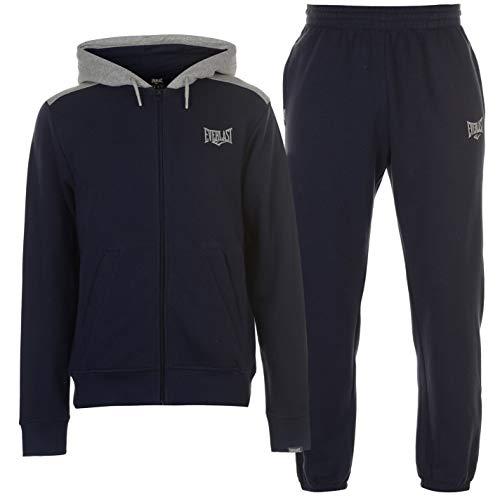 (Everlast Mens Jog Suit Fleece Tracksuit Hooded Zip Navy/Grey Marl L )