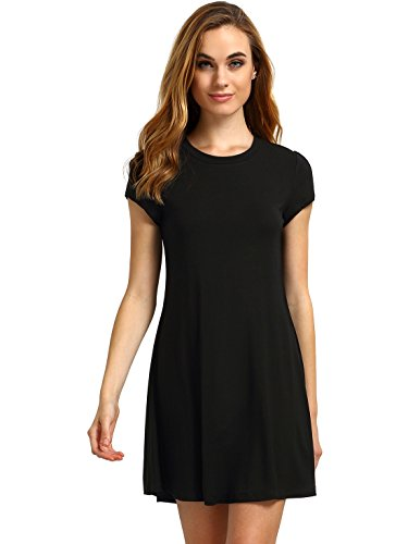 Women's Short Sleeve Shirt Casual Swing Dress Black