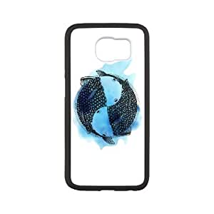 Samsung Galaxy S6 Cell Phone Case White Pisces zodiac sign tattoo style with blue watercolor GUT Fashion Phone Cases Custom