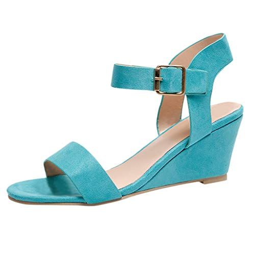 (Sunhusing Ladies Solid Color Belt Buckle Buckle Wedge Roman Style Sandals Summer Casual Bohemian Beach Sandals Blue)