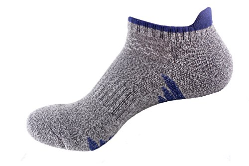 Bonvince No Show Athletic Running Socks for Men and Women Unisex Cushion Thick Padded Dark Blue