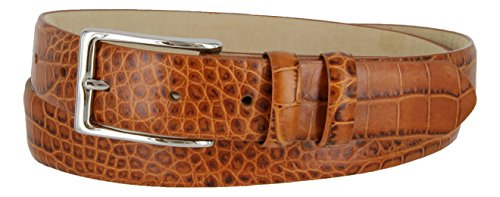 Adam Silver Men's Genuine Italian Calfskin Leather Dress Belt (40, Alligator (Alligator Skin Belt)