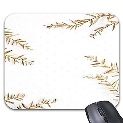 White Gold Pattern Print Mouse Pads   Stylish Office Accessories (9 X 7.5  Inch)