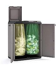 Keter Split Basic recyclingkast, grijs/zwart, 68 x 39 x 85 cm, handmatige opening