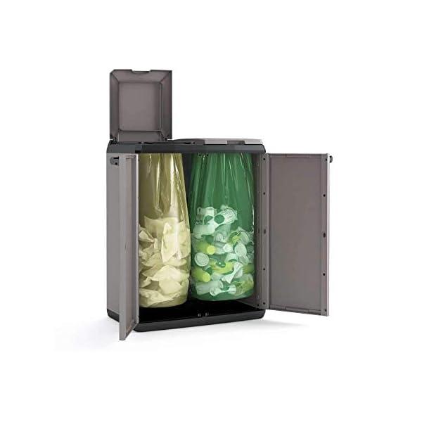 Keter-9736000-Split-Cabinet-Recycling-Basic-Contenitore-con-coperchio-per-la-Raccolta-Differenziata-in-plastica-Grigio-68-x-39-x-85-cm