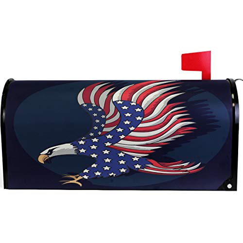 (Wamika American Flag Patriotic Eagle Mailbox Cover Magnetic Standard Size,4th of July Memorial Day Independence Day Letter Post Box Cover Wrap Decoration Welcome Home Garden Outdoor 21