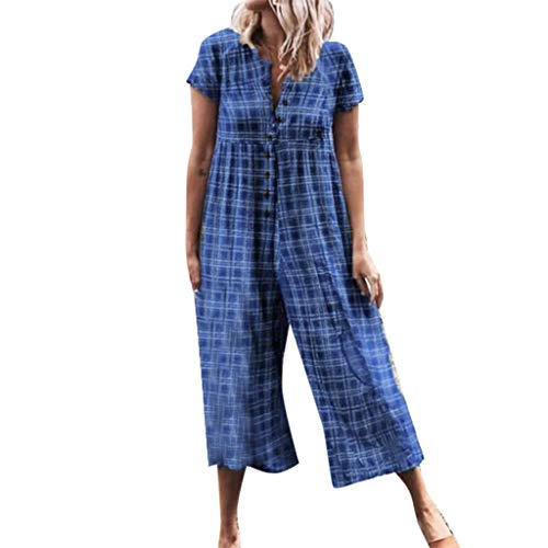 Euone Womans Romper Clearances, Women Casual Plaid Printed Short Sleeve Button Opening Beach Loose Long Jumpsuit ()