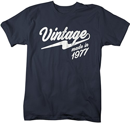 - Shirts By Sarah Men's Vintage Made In 1977 T-Shirt Retro 40th Birthday T-Shirt (Navy Xlarge)