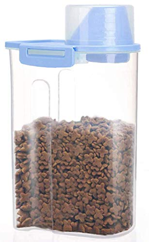 Pet Food Storage Container with Measuring Cup, Pour Spout and Seal Buckles Food Dispenser for Dogs Cats