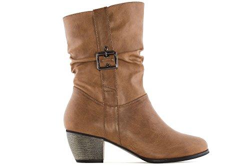 Andres Machado Damen Stiefel - Cognac Schuhe in Übergrößen