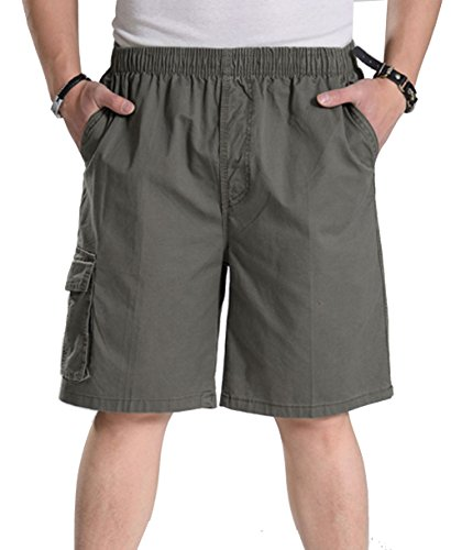 YangguTown YGT Mens Loose Cotton Cargo Shorts Overall Elastic Waist Twill Pants Army Green ()