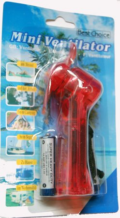 Handventilator mit Schlaufe inkl. BatterienMini Ventilator