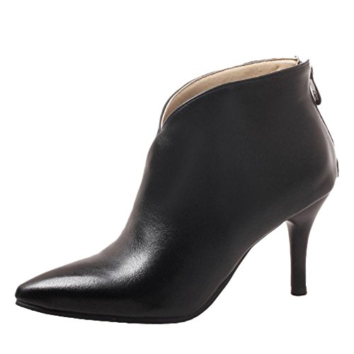Black Party Women's Carolbar Retro Toe High Ankle Boots Evening Sexy Pointed Stiletto Heel Fnqw7Awpx