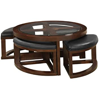 Amazoncom Furniture Of America Julius Round Coffee Table With 5mm